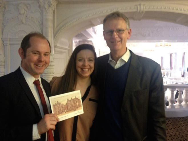 With editor Sam Harrison and publicity manager Jessica Axe at the 'Intelligence Book of the Year' awards