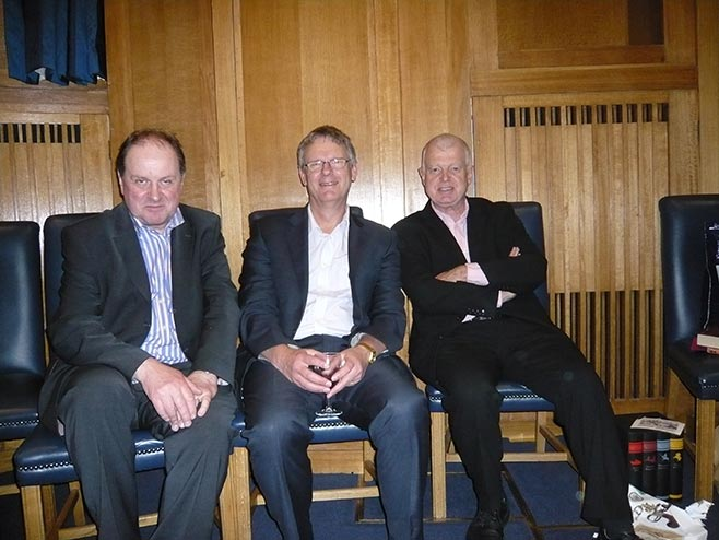 With Today programme colleagues, presenter Jim Naughtie and former editor Phil Harding