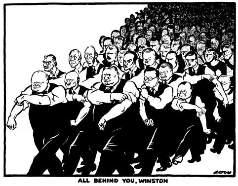 The cartoon 'All Behind You Winston' by David Alexander Cecil Low
